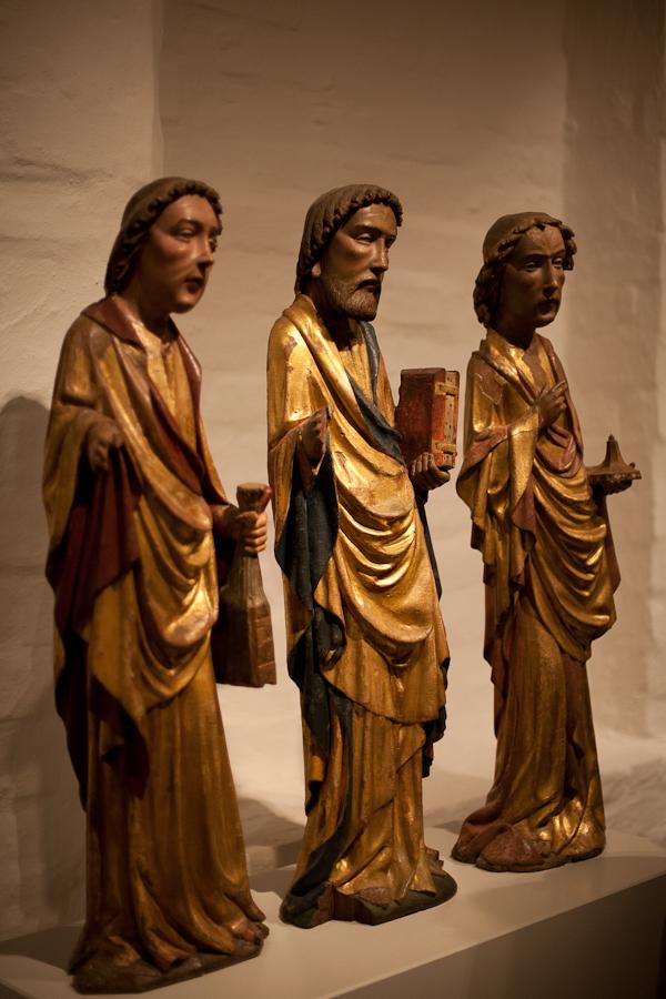 Bild: Figuren der drei heiligen Könige, vollständig vergoldet.